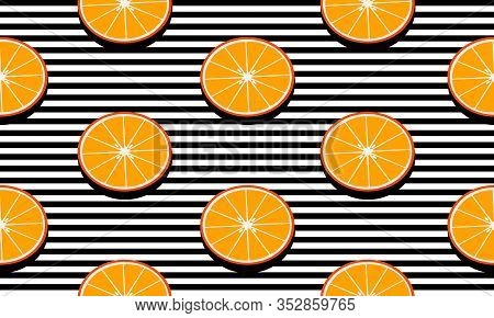 Seamless Background With Black Stripes And Slices Mandarins With Dark Shadow. Vector Fruit Design Fo