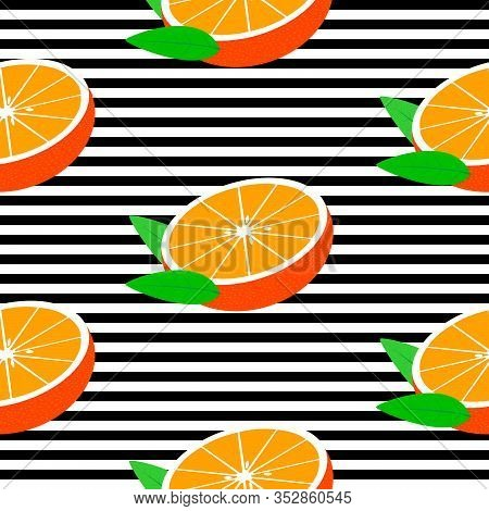 Seamless Background With Black Stripes And Halves Mandarins With Leaves. Vector Fruit Design For Pat