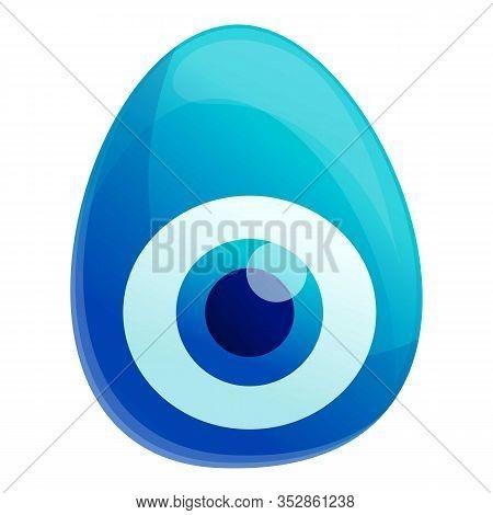 Blue Turkish Eye Icon. Cartoon Of Blue Turkish Eye Vector Icon For Web Design Isolated On White Back