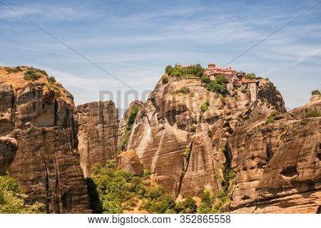 Meteora Monasteries, View Of The Great Meteoron (transfiguration) Monastery