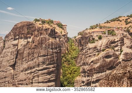Monasteries Of Meteora Varlaam And Transfiguration (great Meteoron) Located On Top Of A Cliff