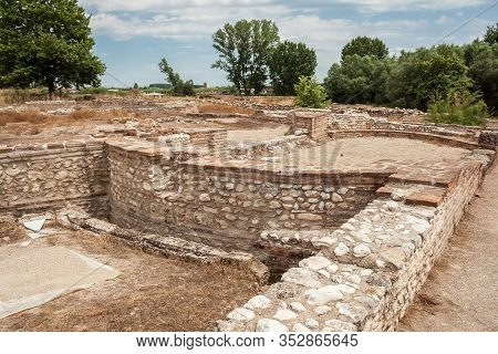 Dion Archaeological Park, Ruins Of Ancient Buildings, Greece