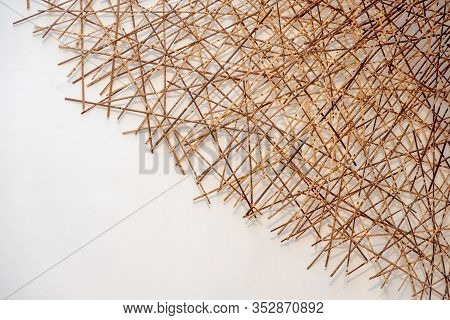 White Background With Bamboo Stick Empty Texture