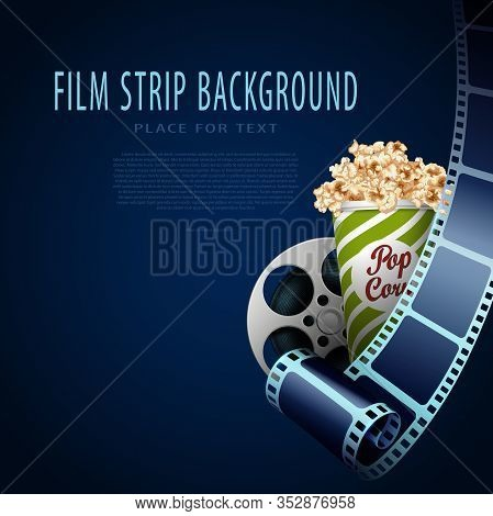 3d Cinema Film Strip In Perspective. Film Strip, Film Reel, Popcorn Box. Cinema Background. Template