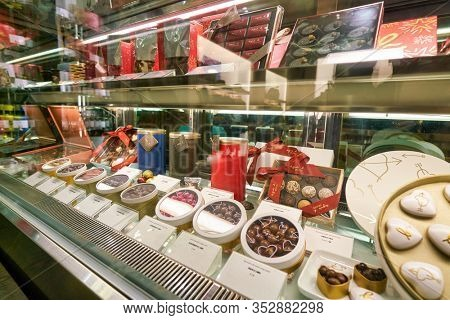 HONG KONG, CHINA - JANUARY 23, 2019: chocolate candies on display at Agnes B Cafe at New Town Plaza shopping mall in Sha Tin.