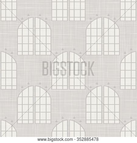 Gray Vector French Linen Woven Texture Background. Printed With Glass Window Arch Facade