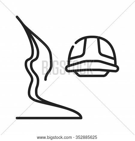 Canyoning Black Line Icon On White Background. Extreme. Canyon Climbing. Descent Into The Canyon. Pi