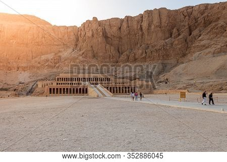 Luxor, Egypt - April 16, 2019: Hatshepsut Temple In Luxor Is A Reflection Of The Mortuary Temple Of