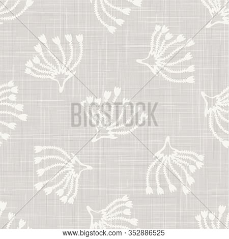 Gray Vector French Linen Texture Background. Printed With White Seed Flower.