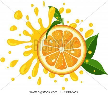 Scalable Vectorial Representing A Splash Juicy Slice Of Orange With Green Leaves, Element For Design