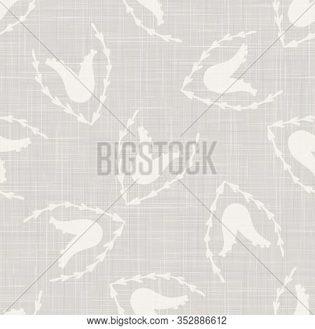 Gray Vector French Linen Texture Background. Printed With White Tulip Leaf Flower.
