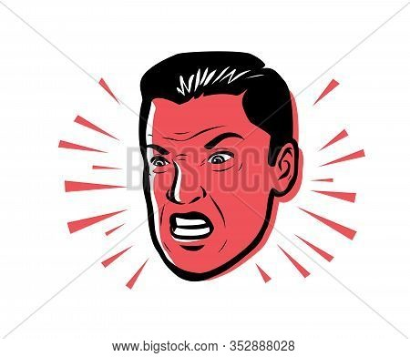 Angry Man Furious. Vector Illustration Style Pop Art Retro