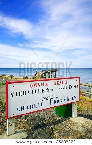 Omaha Beach World War Normandy Location Signboard Vierville Sur Mer