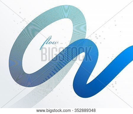 Blue 3d Lines In Motion Dimensional Vector Abstract Background, Elegant Curvy Light Stripy Design El