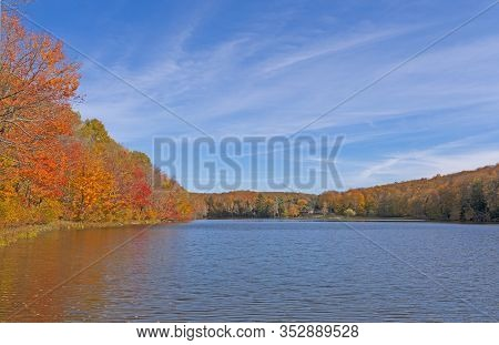 Calm Lake On A Sunny Autumn Day At The Louis M Groen Nature Preserve In Michigan
