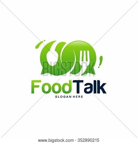 Food Talk Logo Template Designs Vector Illustration, Food Discuss Logo, Food Forum Logo
