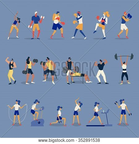People Are Boxing, Training In The Gym, Fitness, Aerobic And Exercises, Physical Activity. Collectio