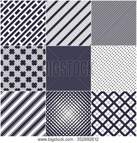 Minimal Lines Vector Seamless Patterns Set, Abstract Backgrounds Collection. Simple Geometric Design