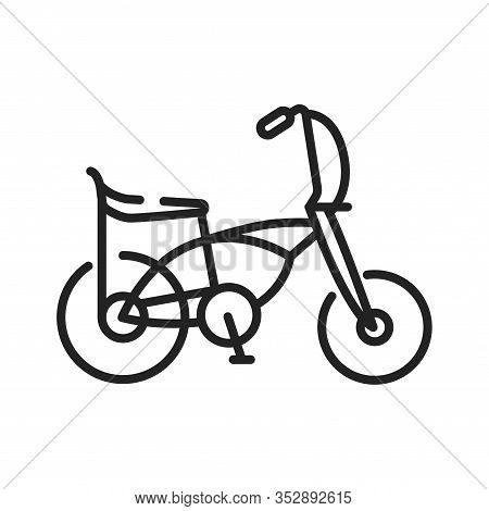 Bicycle Moto Cross Bmx Black Line Icon. Extreme Kind Of Sport. Bmx Events Can Either Be Competitive