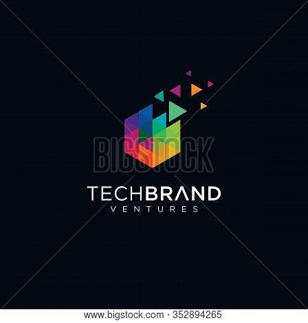 Abstract Pixel Hexagon Logo Colorfull Design Illustration . Hexagon Tech Logo .  Hexagon Digital Log