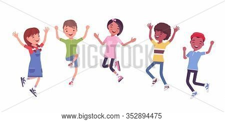 Happy Joyful Children Jumping With Joy. Cute Kids Having Fun, Diverse Group Of School Friends Enjoy