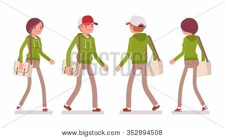 Young Man And Woman Wearing A Hoodie Jacket Walking. Cute Smart People In Casual Green Hoody, Youth