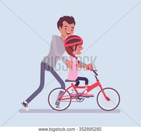 Father Guiding Daughter Riding Safely Bicycle. Girl Learning To Ride First Pedal Bike, Beginning Rid