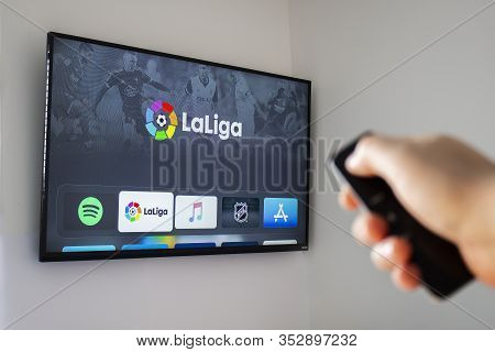 Calgary Alberta, Canada. Feb 26 2020. A Person Using The Soccer, La Liga Application On The Apple Tv