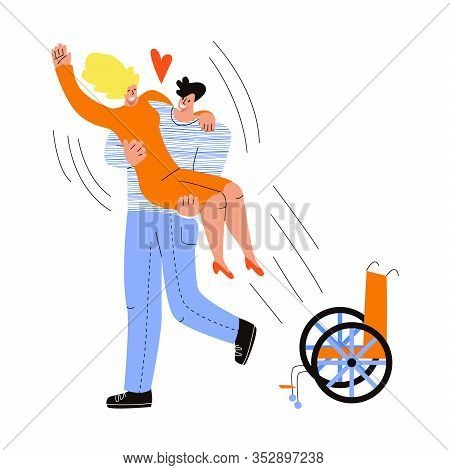 Vector Flat Illustration With Couple Where There Is Partner, Disabled Woman. They Are Happy, Man Hol