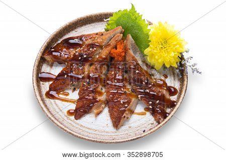 Japanese Food, Unagi Dinner Meal Isolated On White Background