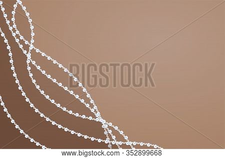 Pearl String Corner Template. Biege Background With Wavy Strings Of River Pearl. Elegant Sandy Desig