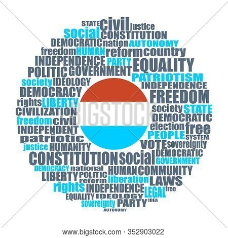Word Cloud With Words Related To Politics, Government, Parliamentary Democracy And Political Life. F