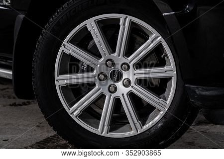 Novosibirsk, Russia - January 31, 2020:  Land Rover Range Rover, Car Wheel With Alloy Wheel And New