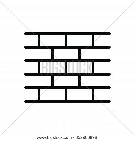 Black Line Icon For Brick-wall Brick Wall Snag Occlusion Impetigo Brickbat Enclosure Parapet Build T