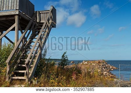 An Old Wooden Guard Tower Is Standing By The Jetty At The Fishing Harbor Of Kalajoki, Finland.