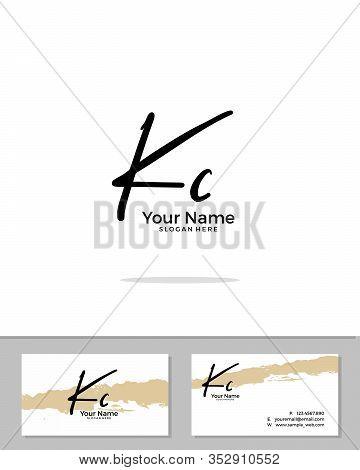 K C Kc Initial Logo Signature Vector. Handwriting Concept Logo.