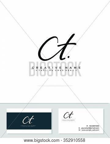 C T Ct Initial Logo Signature Vector. Handwriting Concept Logo.
