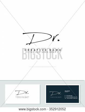 D R Dr Initial Logo Signature Vector. Handwriting Concept Logo.