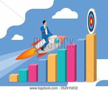 Successful Business Man Flying On Rocket On Graph Going Up To Target. Businessman On Flying Space Sh