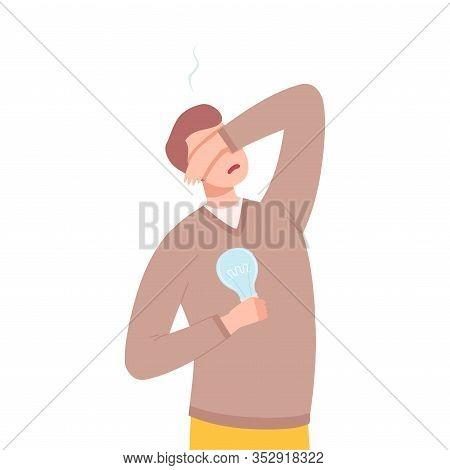 Stressful Businessman Character Having No Idea, Depressed Unsuccessful Man Holding Off Light Bulb Fl