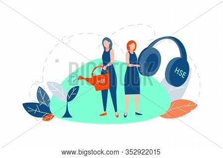 Hse, Care Concept. Young Women Or Girls Are Standing And Holding Big Headphones And Watering Can Wit