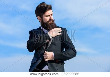 Guy Beard And Mustache Wear Formal Clothes. Just Right. Businessman Bearded Face Sky Background. Fla