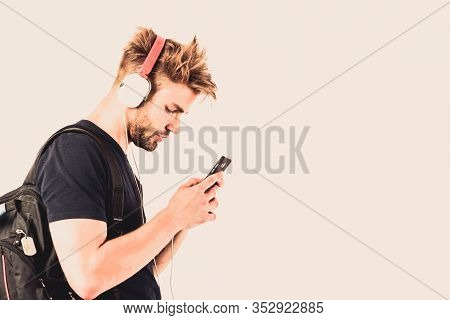 Music Chart. Copy Space. Ebook And Online Education. Music Education. Sexy Muscular Man Listen Ebook
