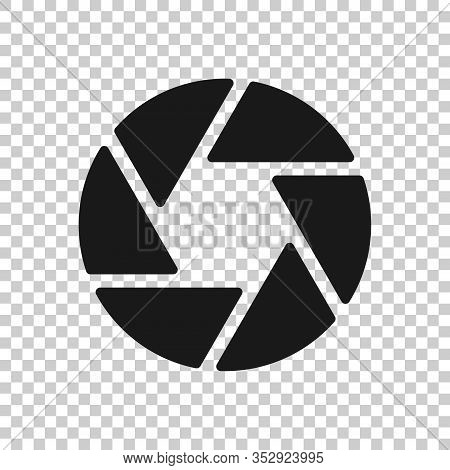 Camera Diaphragm Icon In Flat Style. Lens Sign Vector Illustration On White Isolated Background. Pho