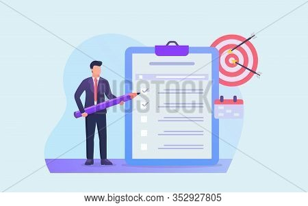 Business Checklist Or Todo List For Businessman To Achieve Financial Target Vector