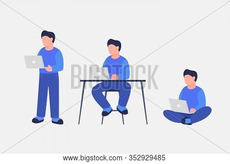 Man Work Using Laptop With Various Position Standing Sit And Sitting Cross-legged Vector