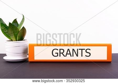 Folder With The Label Grants On A Light Background