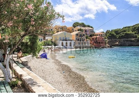 Small Beach Of The Village Of Assos. Kefalonia Greece