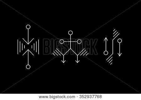 Alien Geometry White Symbol Set. Ufo Signs. Design Symbols For Puzzle, Logic, Metroidvania, Indie Ga