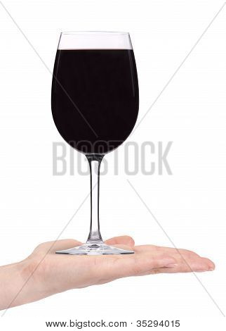 Woman Hand Offering Red Wine Isolated